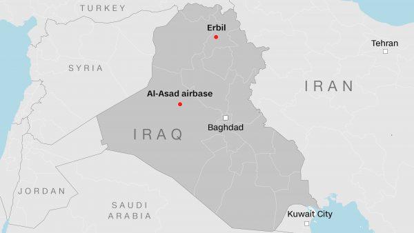 Bản đồ hai khu căn cứ quân sự của Mỹ bị Iran phóng đạn đạo