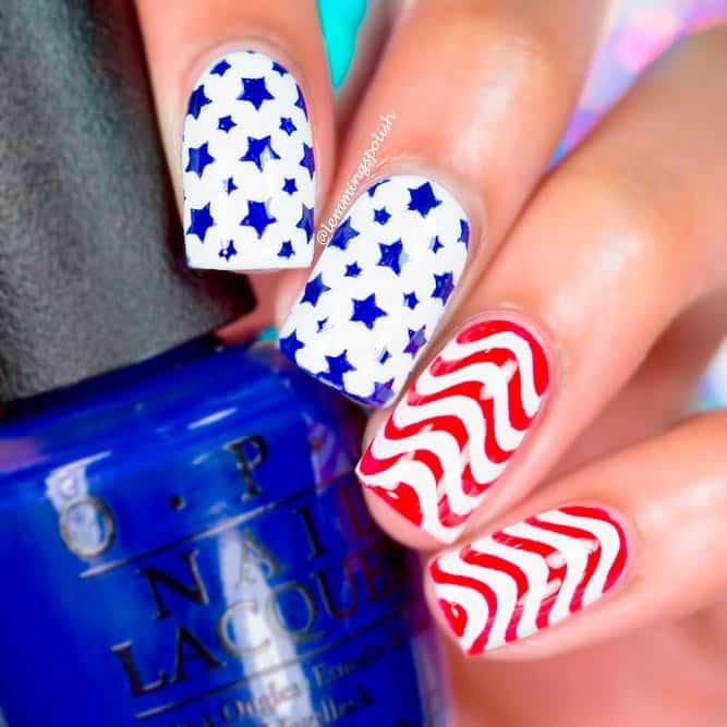 Phong cách móng cá tính cho ngày Quốc Khánh Hoa Kỳ